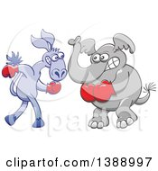 Clipart Of A Cartoon Political Democratic Donkey And Republican Elephant Boxing Royalty Free Vector Illustration