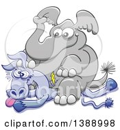 Clipart Of A Cartoon Political Republican Elephant Sitting On A Democratic Donkey Royalty Free Vector Illustration