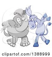 Cartoon Political Democratic Donkey Vs A Republican Elephant Face To Face