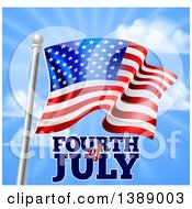 Clipart Of A 3d American Flag And Fourth Of July Text Over Blue Sky Royalty Free Vector Illustration