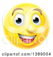 Clipart Of A 3d Happy Yellow Male Smiley Emoji Emoticon Face Royalty Free Vector Illustration