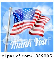 Clipart Of A 3d American Flag And Thank You Text Over A Blue Sky For Memorial Or Veterans Day Royalty Free Vector Illustration by AtStockIllustration