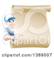 Clipart Of A Happy Brunette Middle Aged Caucasian Mechanic Man In Blue Pointing Around A Blank Scroll Sign Royalty Free Vector Illustration