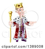 Clipart Of A Happy Brunette White King Holding A Scepter And Pointing To The Right Royalty Free Vector Illustration
