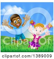 Clipart Of A Happy And Excited Black Boy And White Girl Jumping Outdoors Royalty Free Vector Illustration by AtStockIllustration