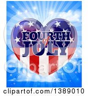 Clipart Of A Fourth Of July American Flag Heart Over A Blue Sky With Clouds And Rays Royalty Free Vector Illustration