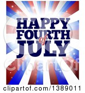 Clipart Of A Happy Fourth Of July Greeting Over Red White And Blue Bursting Stripes Royalty Free Vector Illustration by AtStockIllustration