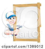 Clipart Of A Happy Young Brunette Caucasian Worker Man Holding A Hammer Around A Sign Royalty Free Vector Illustration