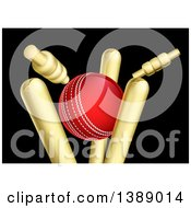 Clipart Of A Cricket Ball Breaking Wicket Stumps On Black Royalty Free Vector Illustration by AtStockIllustration