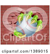 Clipart Of Monster Claws Holding A Baseball And Breaking Through A Brick Wall Royalty Free Vector Illustration