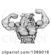 Clipart Of A Muscular Tough Gray Bulldog Man Mascot Flexing From The Waist Up Royalty Free Vector Illustration by AtStockIllustration