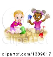 Clipart Of Happy White And Black Girls Playing And Making Sand Castles On A Beach Royalty Free Vector Illustration by AtStockIllustration
