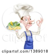 Clipart Of A White Male Chef With A Curling Mustache Gesturing Ok And Holding A Fish And Chips On A Tray Royalty Free Vector Illustration by AtStockIllustration