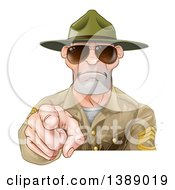 Clipart Of A Mad White Male Army Boot Camp Drill Sergeant Wearing Sunglasses And Pointing At You Royalty Free Vector Illustration