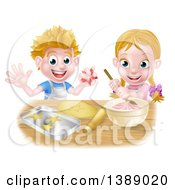 Clipart Of A Cartoon Happy White Girl And Boy Making Pink Frosting And Star Shaped Cookies Royalty Free Vector Illustration