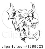 Clipart Of A Black And White Welsh Dragon Mascot Head Royalty Free Vector Illustration