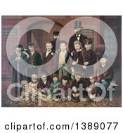 Historical Illustration Of DL Moody And JV Farwell Standing Behind A Group Of 14 Boys On A Street In Front Of A Building Chromolithograph