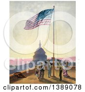 Historical Illustration Of A Group Of People Raising American Flag Against The US Capitol C1876 Chromolithograph