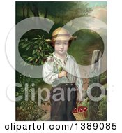 Historical Illustration Of A Caucasian Farmer Boy Holding A Branch And Basket Of Cherries C1871 Chromolithograph