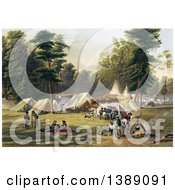 Historical Illustration Of A Confederate Camp During The American Civil War C1871 Chromolithograph