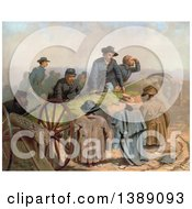 Historical Illustration Of A Group Of Union Soldiers Discovering Find Dummy Defenders After Storming Confederate Defenses C1873 Chromolithograph