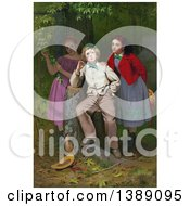 Boy Leaning On A Tree Stump Pondering His Future Happiness With Either Of Two Young Girls Standing Behind Him C1871