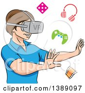 Clipart Of A Boy Using A Virtual Reality Set Royalty Free Vector Illustration by cidepix