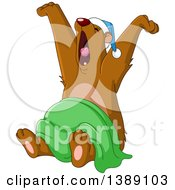 Clipart Of A Cartoon Sleep Bear Stretching Royalty Free Vector Illustration