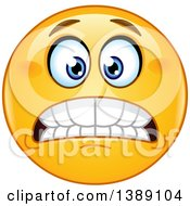 Clipart Of A Grimacing Yellow Emoticon Emoji Smiley Face Royalty Free Vector Illustration