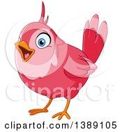 Clipart Of A Cartoon Pink Bird Singing Royalty Free Vector Illustration