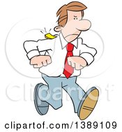 Clipart Of A Cartoon Angry Caucasian Business Man Walking With A Chip On Shoulder Royalty Free Vector Illustration by Johnny Sajem