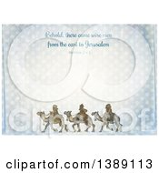 Distressed Christmas Background Of Behold There Came Wise Men From The East To Jerusalem Matthew 2 V 1 And The Three Kings Over Polka Dots