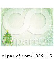 Clipart Of A Distressed Christmas Background Of A Christmas Tree Stars Snowflakes And Text Space Royalty Free Illustration by Prawny