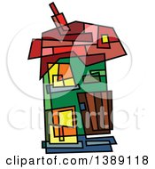 Clipart Of A Doodled Abstract Colorful House Royalty Free Vector Illustration
