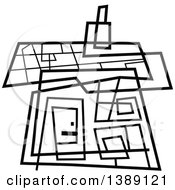 Clipart Of A Doodled Abstract Black And White House Royalty Free Vector Illustration