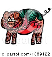 Clipart Of A Doodled Pig Royalty Free Vector Illustration by Prawny
