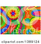 Colorful Abstract Floral And Heart Doodle Background