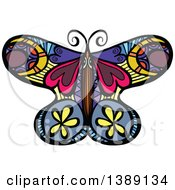 Clipart Of A Doodled Colorful Butterfly Royalty Free Vector Illustration