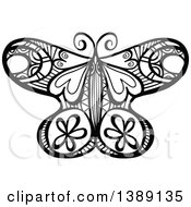 Clipart Of A Doodled Black And White Butterfly Royalty Free Vector Illustration by Prawny