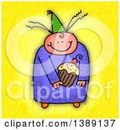 Clipart Of A Sketched Happy Child Holding A Cupcake Over Yellow Royalty Free Illustration