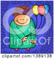Clipart Of A Sketched Happy Child Holding Party Balloons Over Blue Royalty Free Illustration by Prawny