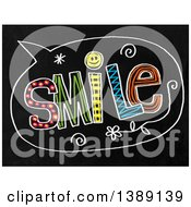 Clipart Of A Doodled Chalk Speech Balloon With Smile Text On A Black Board Royalty Free Illustration