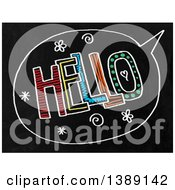 Clipart Of A Doodled Chalk Speech Balloon With Hello Text On A Black Board Royalty Free Illustration