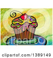 Folk Art Cupcake With A Cherry