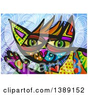 Clipart Of A Patterned Cat Waving Over Swirls Royalty Free Illustration by Prawny