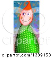Clipart Of A Happy Red Haired Girl In A Polka Dot Dress Royalty Free Illustration