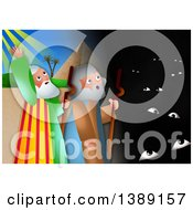 Clipart Of A Moses And Aaron The Plague Of Darkness From The Book Of Exodus Royalty Free Illustration