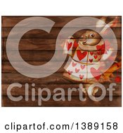 Clipart Of A White Herald Rabbit Holding A Scroll And Blowing A Trumpet Over A Rustic Wood Panel Background Royalty Free Illustration