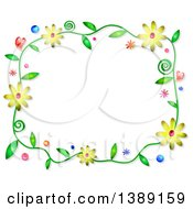 Watercolor Floral Frame On White
