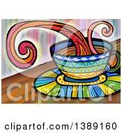 Clipart Of A Folk Art Splashing Coffee Cup Royalty Free Illustration by Prawny
